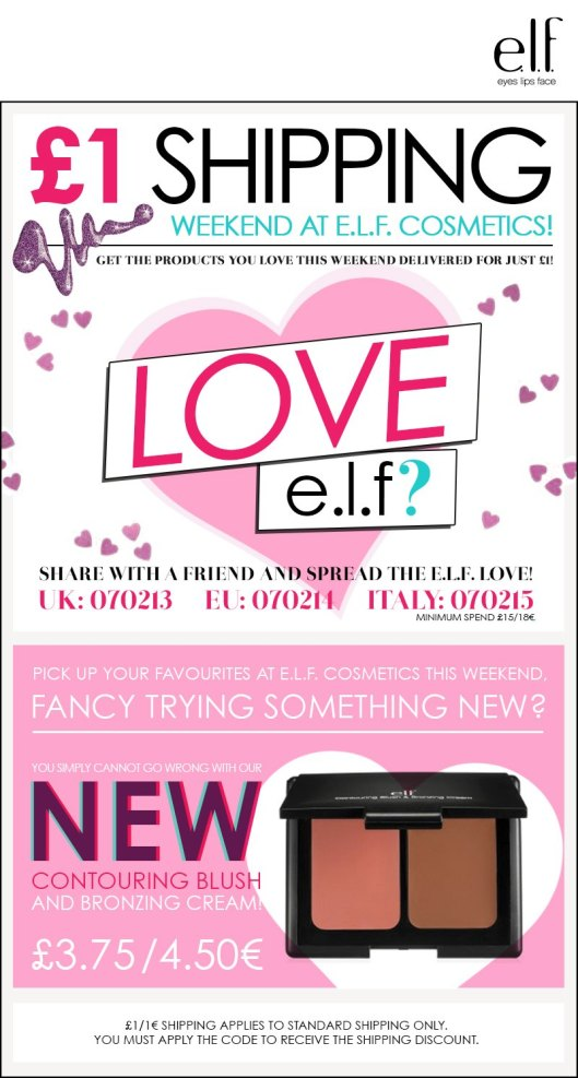 This weekend, ELF Shipping is just £1.