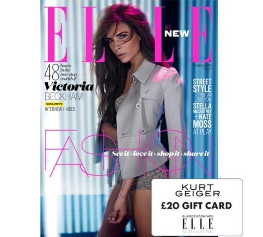You will recieve a free £20 Kurt Geiger voucher when you buy a copy of Elle magazine, on sale now.