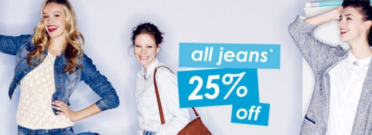 All jeans at new look are 25% off.