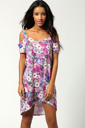 Abbie Shoulder Detail Printed Shift Dress from BooHoo for £15