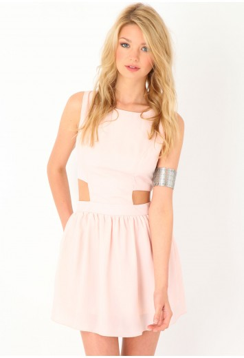 Adrienn Cut Out Detail Dress In Blush from Missguided for £9.99