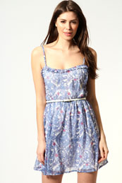 Alice China Blue Ruffle Fron Chiffon Dress from BooHoo for £12