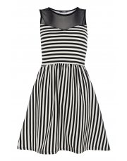 Black & Cream Stripe Mesh Skater Dress from Quiz for £9.99
