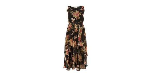 Cameo Rose Black Tropical Floral Dip Hem Dress  from New Look for £14.99