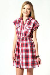 Chloe Check Shirt Dress from BooHoo for £15