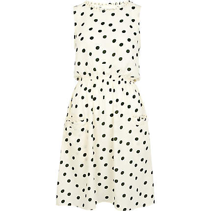 Cream and green polka dot print dress from River Island for £15