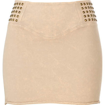 Cream studded detail mini skirt £5 River Island