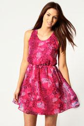 Eve Animal Print Mini Flippy Dress from BooHoo for £15