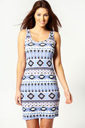 Faye Aztec Print Bodycon Dress from BooHoo for £10.00