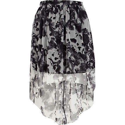 Grey print dip hem skirt £8 River Island
