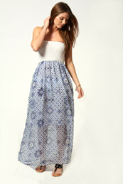 Katie Border Print Bandeau Maxi Dress from BooHoo for £15