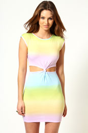 Leanne Rainbow Effect Knot Front Bodycon Dress from BooHoo for £15