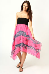 Lindsey Neon Tie Dye Effect Bandeau Dress from BooHoo for £15