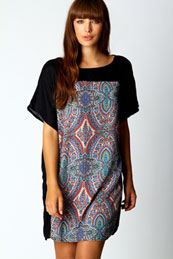 Lindy Paisley Front Panel Dress from BooHoo for £15