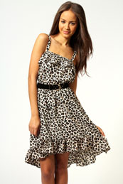 Lydia Ruffle Bust and Hem Crepe Strappy Dress from BooHoo for £15