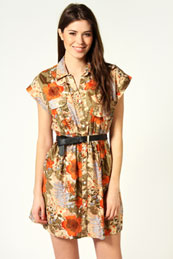 Michelle Urban Floral Print Shirt Dress from BooHoo for £15