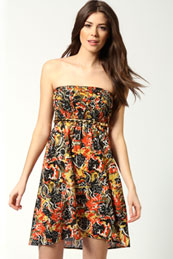 Molly Floral Bandeau Dress from BooHoo for £10