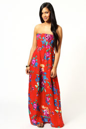 Olivia Large Latina Floral Bandeau Maxi Dress from BooHoo for £15