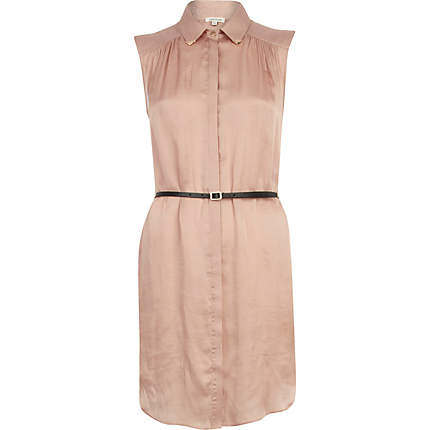 Pink satin Sleeveless belted shirt dress £15 River Island
