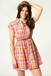 Rachel Check Shirt Dress from BooHoo for £15