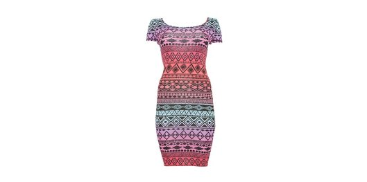 Red Pink and Blue Aztec Cap Sleeve Mini Dress from New Look for £12.99