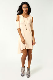 Rosie Cut Out Shoulder Dip Back Tunic Dress from BooHoo for £15