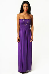 Shelley Shirred Bandeau Maxi Dress from BooHoo for £15