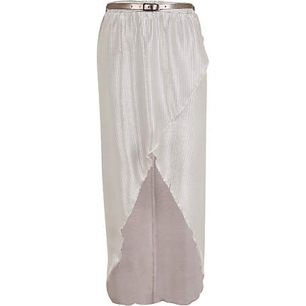 Silver dip hem wrap maxi skirt River Island £7