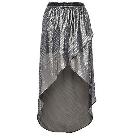Silver zebra print dip hem wrap skirt River Island £7