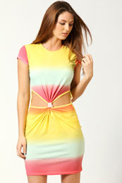 Tina Cap Sleeve Rainbow Print Knot Dress from BooHoo for £12