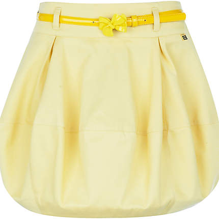Yellow belted latern mini skirt River Island £8