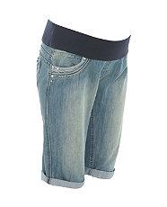 Maternity Blue Denim Underbump Kneelength Shorts £17.99