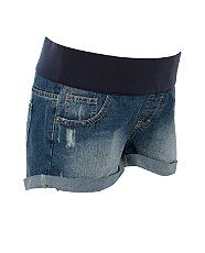 Maternity Dark Blue Denim Underbump Shorts £14.99